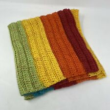Lap Blanket, Crocheted, Rainbow, 28 X 30, Red, Green, Yellow, Blue, Handmade