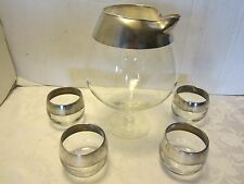 DOROTHY THORPE MID CENTURY 4 SILVER RIM ROLY POLY GLASSES W/SNIFTER MIXER Vtage