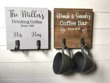 Personalised coffee sign/Coffee lovers gift/Coffee sign/Coffee cup hooks/rustic