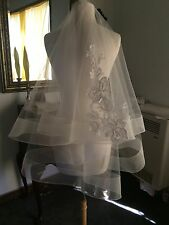 Vera Wang Replica Wedding Veil HorseHair White COLOR FRENCH LACE