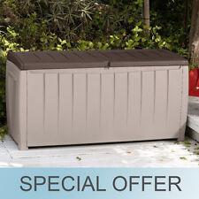Keter Novel Deck Storage Decorative Seat Box 90 Gallon Outdoor Patio Brown/Beige