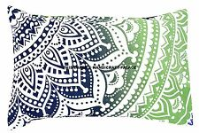 Indian Cotton Bedding Cushion Cover Pillow Case Ombre Mandala Bed Throw Handmade
