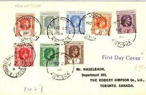 LEEWARD ISLANDS KGVI FDC Antigua St John's First Day Cover Canada 1938 PB108