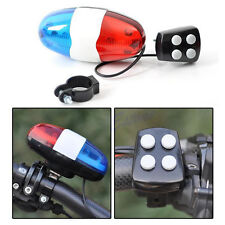 Bike Bicycle Police Car 6 LED Light 4 Sounds Trumpet Cycling Horn Bell