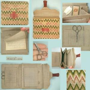 Early Antique American Bargello Note Book/Sewing Case / Wool & Silk* Dated 1804