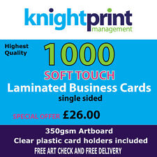 1000 SOFT TOUCH laminated business cards, single sided, 350gsm silk