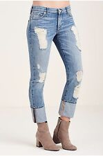 BRAND NEW TRUE RELIGION WOMENS RELAXED SKINNY RIPPED JEANS DISTRESSED CUFF 27