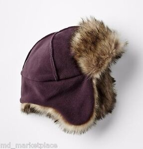 NEW Baby GAP Boys Girls Unisex Cozy Fleece Faux Fur Trapper Hat Cap Wine M L NWT