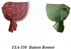 Civil War Style SUN BONNET BUTTON BONNET Timeless Stitches Pattern TSA-550