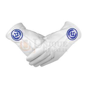 Masonic Regalia White Soft Leather Gloves Square Compass machine embroidery