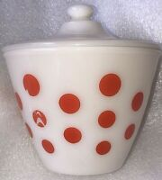 Fire King Red Polka Dot Food Grease Storage Jar with Original Lid Mid-Century