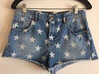 Forever 21 Womens Size 27 Stars Pattern Blue Jean Shorts Distressed Raw Hem