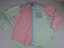 VINEYARD VINES Red Green Blue Stripes MURRAY Whale Shirt Men's Large (Cleaned)