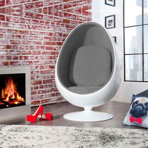 Retro Egg Pod Chair Swivel Chair Grey Interior White Fiber-Reinforced Plastic