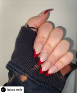 Hand Painted False Nails Stiletto Blood Red Tip HalloweeN Medium Press On Nails