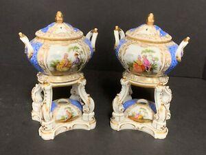 """Vintage KPM Porcelain Pair of Censors Incense Potpourri Warmers 6 3/4"""" High"""