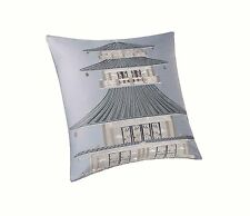 """Natori Lotus Temple Square Pillow Embroidered, Silver, 20"""" by 20"""" NA30-1583"""
