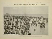 1903 PRINT BEACH AT ATLANTIC CITY NEW JERSEY SEASIDE HOLIDAYS IN AMERICA