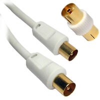 0.5m SHORT RF Fly Lead Coaxial Aerial Cable TV Male to M Extension GOLD WHITE