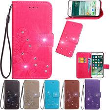 Diamond Clover Flower Card Slot Wallet Flip Leather Cover Case For Samsung Phone