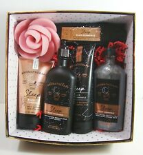 Bath & Body Works Black Chamomile 6 Piece Shower Spa Gift Set Scrub Oil Lotion