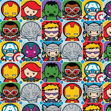 Marvel Comics KAWAII AVENGERS CHARACTER TILES Cotton Fabric By The Yard