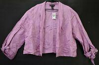 New Ashley Stewart Womens Plus Size 18 Long Sleeve Open Front Linen Shirt Purple