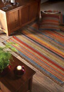 Hand Loom Ooty Kilim Rug Wool & Cotton Multi Colour Stripe Design in 4 sizes