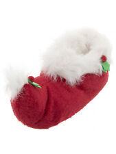 Mens Red Plush Novelty Christmas Elf Slippers Large 11.5-12