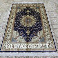 Yilong 4'x6' Blue Handwoven Silk Carpet Antistatic For Prayer Area Rug Z361A