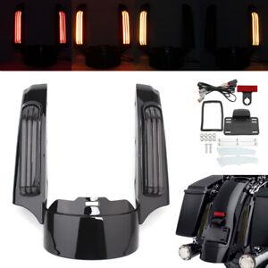 Black Rear Fender Extension Fascia LED Light For Harley Touring Road King 14-20