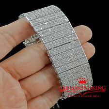 MEN`S 14K WHITE GOLD FINISH CLEAR LAB DIAMOND 10 ROWS TENNIS BRACELET 66g 8 INCH