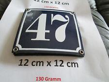Hausnummer Nr. 47 weisse Zahl auf blauem Hintergrund 12 cm x 12 cm Emaille Neu