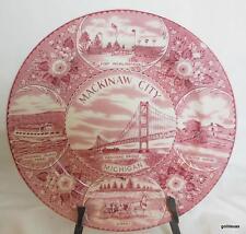"Mackinaw City Michigan Plate 10"" Made in England Burgundy and White"