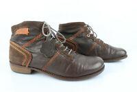 KICKERS Bottines Boots Cuir Marron Coutures Orange T 41 Très bon état