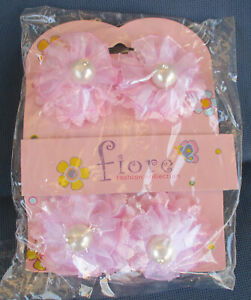 Pink Baby Toddler Beaded Bow Hair Clips +