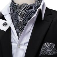 USA Black White Paisley Mens Silk Ascot Cravat Tie Set Wedding Jacquard Woven