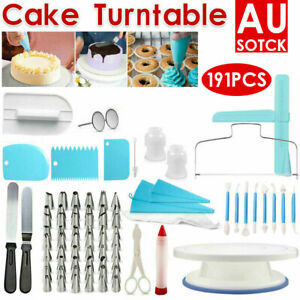 6-191pc Cake Decorating Kit Turntable Rotating Baking Flower Icing Piping Nozzle