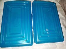 """2 Pc Lot 8"""" Pencil Box for School Supplies Stackable Pencil Case Purple Blue"""