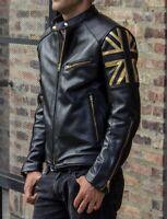 Union Jack UK FLAG Cafe Racer Vintage Men Black Motorcycle Biker Leather Jacket