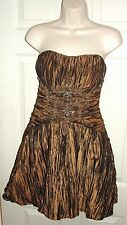 SUE WONG NOCTURNE SIZE 4 BROWN SHORT DRESS WITH BEADING ACCENTS SEXY COCKTAIL