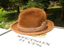 STETSON HAT ~ The Sovereign ~ BROWN FUR FELT FEDORA w FEATHER ~ 6¾ ~ NEW w BOX
