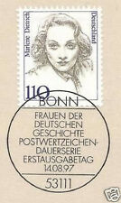 BRD 1997: Marlene Dietrich Nr. 1939 mit Bonner Ersttags-Sonderstempel! 1A 1512