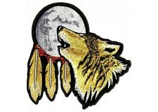 """(L20) Large HOWLING WOLF MOON 12"""" x 12"""" iron on back patch (3120) Biker"""
