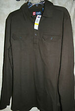 NEW CHAPS long sleeve shirt pullover button top 2 button down pockets brown M