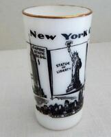 Vintage NEW YORK CITY Milk Glass Tumbler - Statue of Liberty - New York Skyline