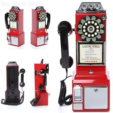 Vintage Red Pay Phone Retro Look Telephone Coin 1950 Old Style Classic Payphone
