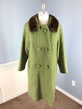 Vintage Green brown Boucle Wool Long Overcoat swing Coat Genuine Fur Collar M