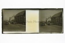 Voitures anciennes Village France Photo Amateur Plaque de verre stereo ca 1920