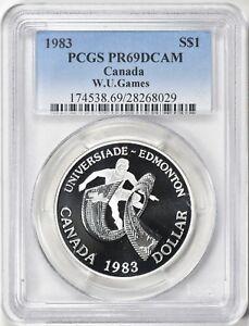 1983 PCGS PR69DCAM Canada World University Games - Edmonton Silver $1 Dollar